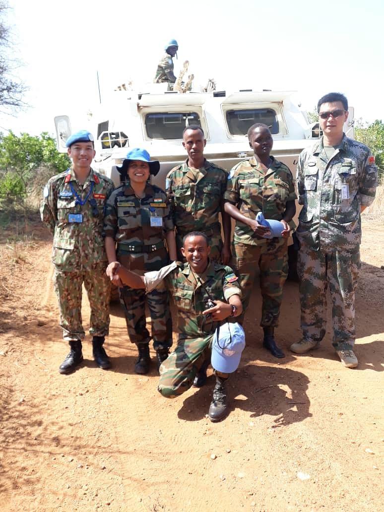 Major Suman Gawani with other peacekeepers.