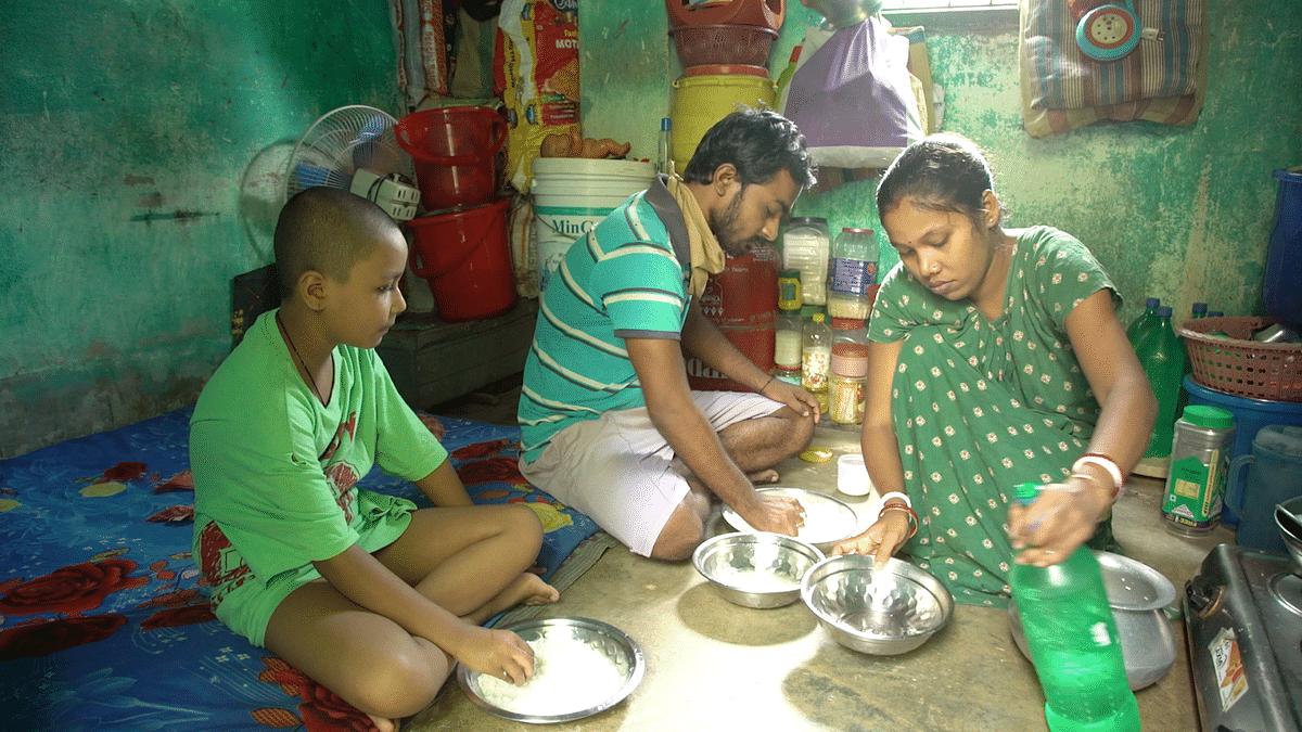 Namita Bairagi and her family having lunch in Kolkata.