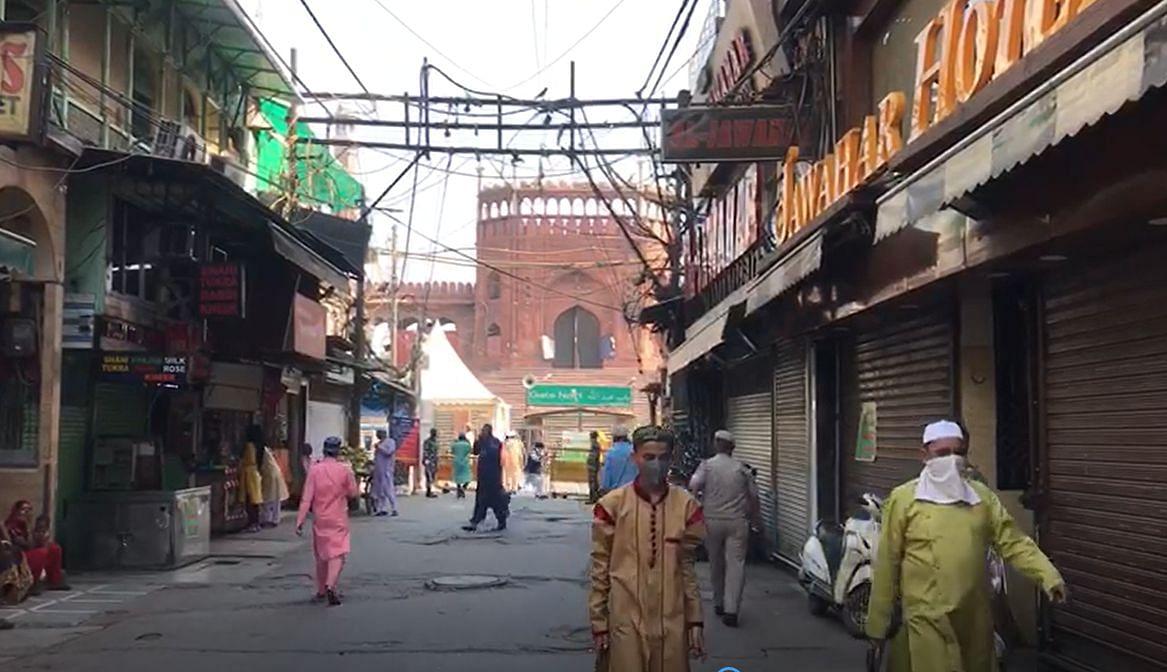 Most shops shut, fewer people on the roads in Old Delhi on Eid.