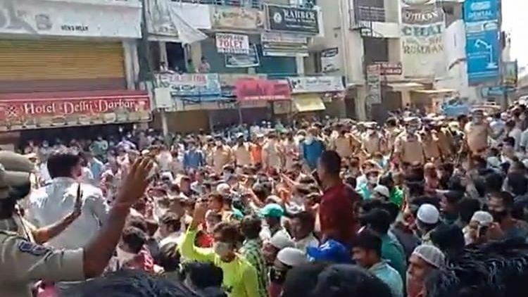 Hundreds of migrant workers gathered in Hyderabad.