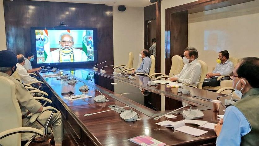 Madhya Pradesh Chief Minister Shivraj Singh Chouhan takes part in the Chief Ministers' video conference meeting.