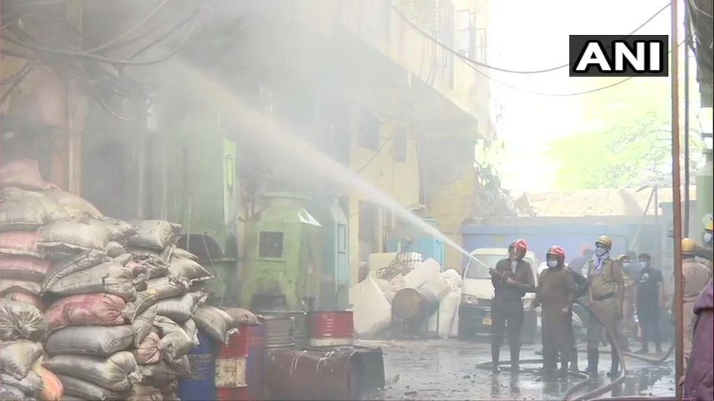Slums of Southeast Delhi's Tughlakabad area were affected.