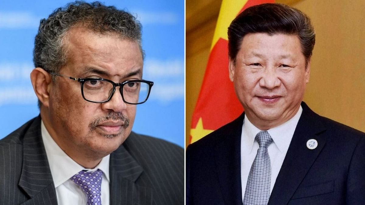 File image of WHO Director-General Tedros Adhanom Ghebreyesus and Chinese President Xi Jinping.