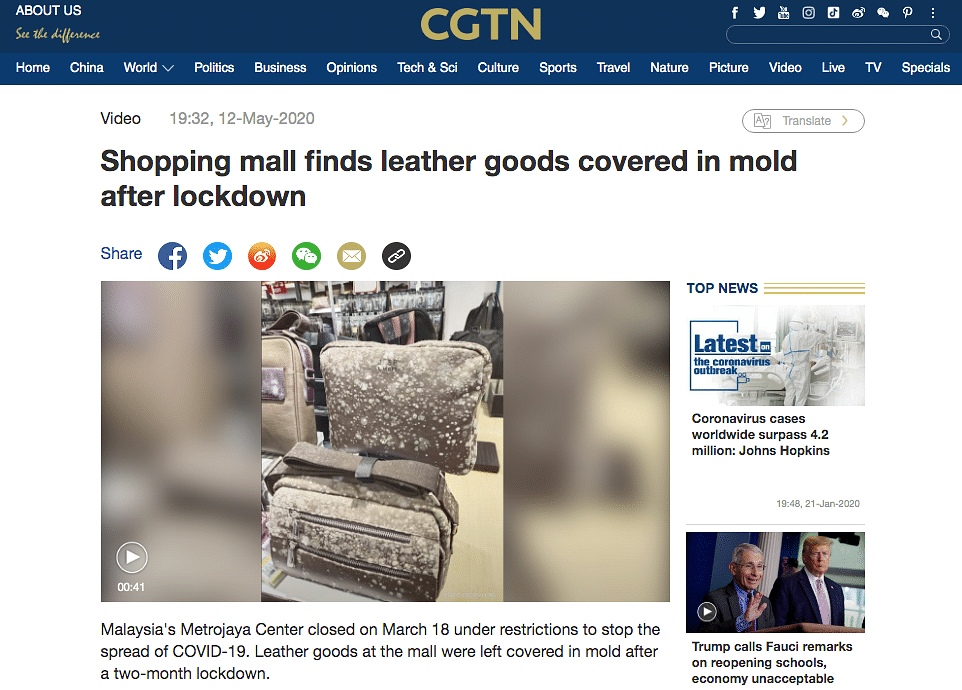 A Google reverse image search led us to a CGTN article published on 12 May.