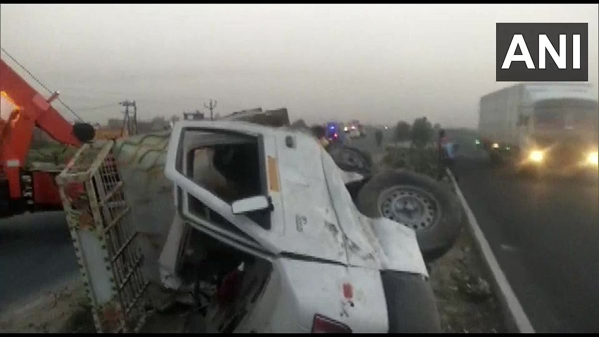 The truck pick up carrying the farmers collided with another.