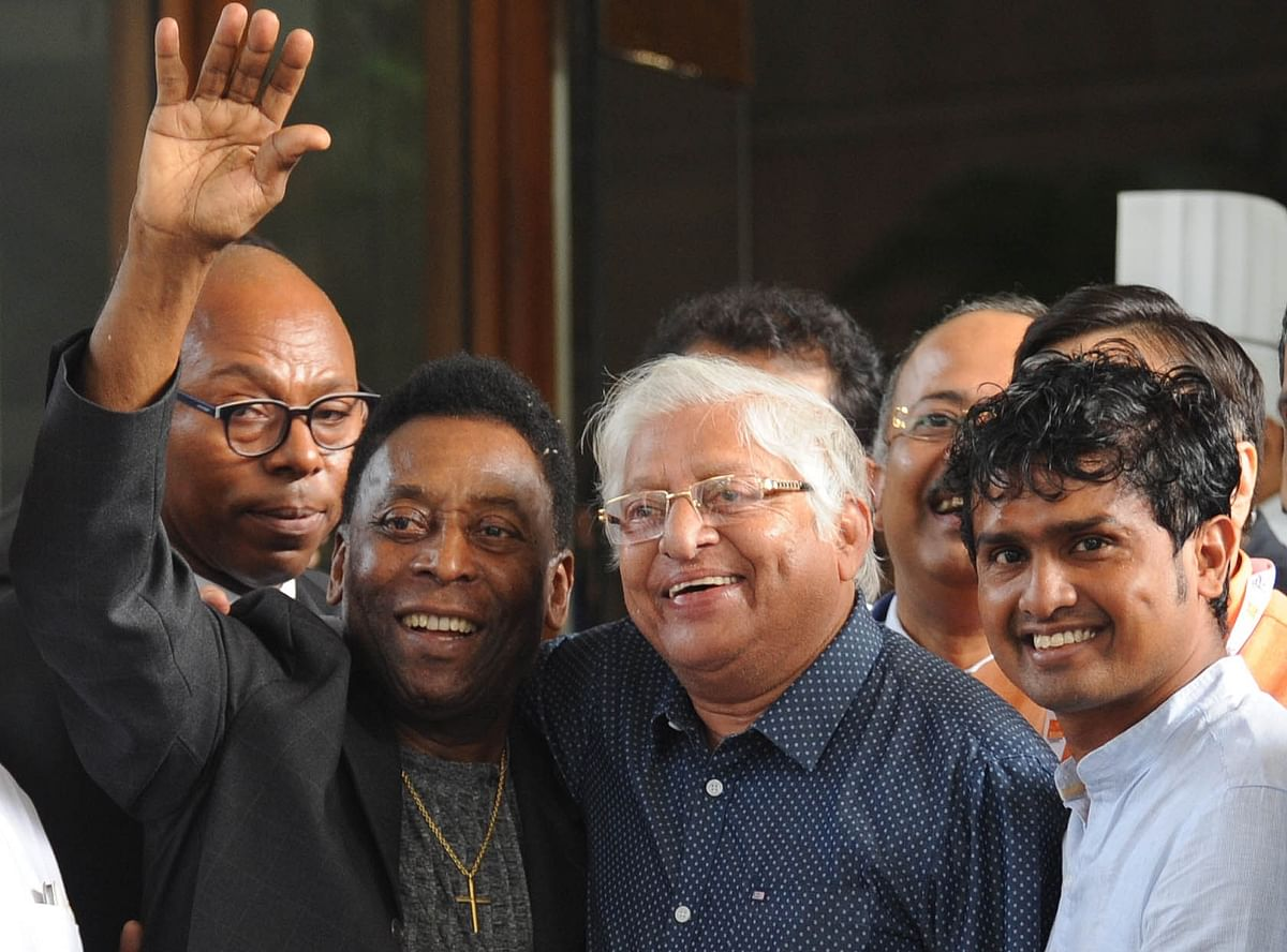 Chuni Goswami with football legend Pele in Kolkata during the Brazilian's trip to India in 2015.