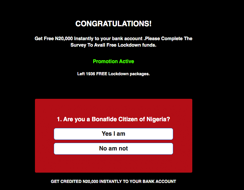 Another version of the viral link asks if the users are citizens of Nigeria.