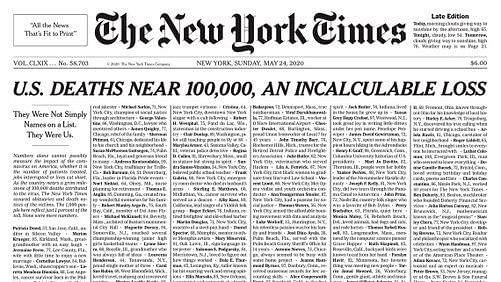 'They Were Us': New York Times Front Page Honours COVID-19 Victims