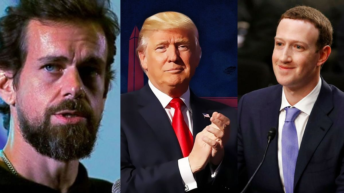 Left: Jack Dorsey. Middle: US President Donald Trump. Right: Mark Zuckerberg.
