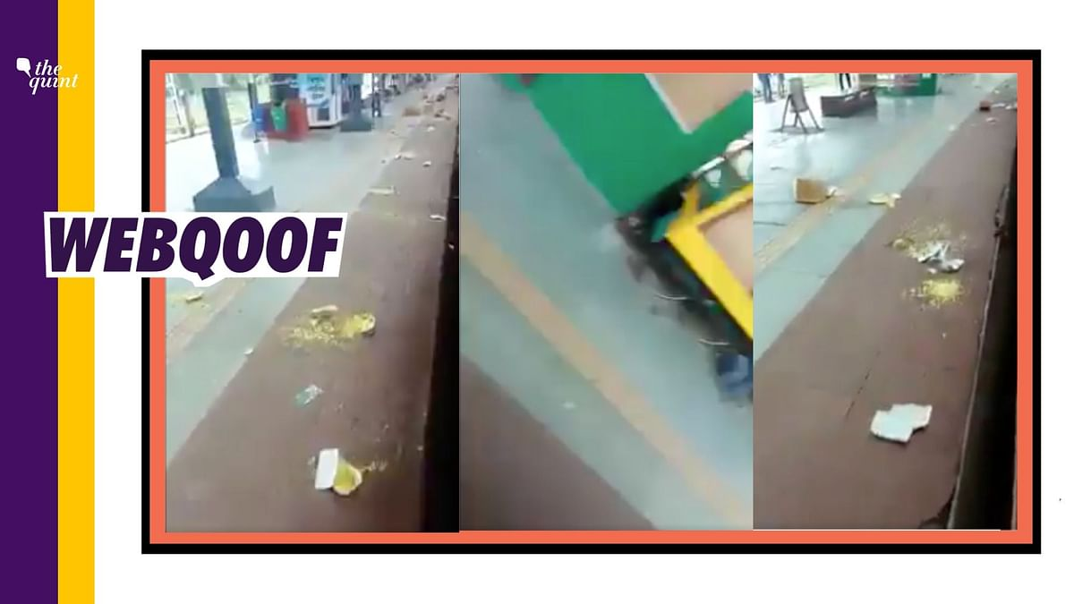 A viral video of migrant labourers throwing food packets from a train because the food was stale is being shared with false claims.