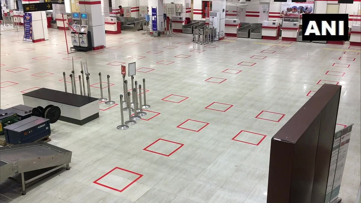 West Bengal: Several arrangements, including preparations for social distancing norms, being done at Bagdogra Airport as domestic flights will resume operations soon. (May 27, 2020)