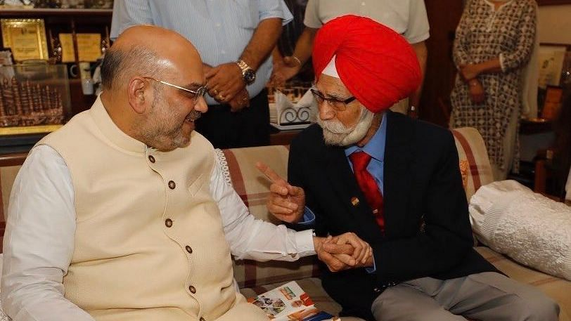 File picture of Amit Shah with Balbir Singh Sr.