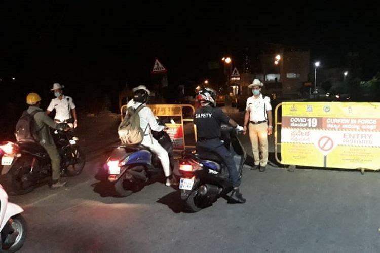 A police check post in Bengaluru.