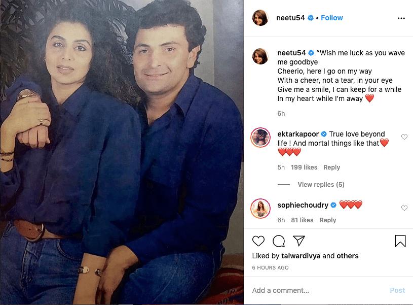 Neetu Singh's Instagram post remembering Rishi Kapoor.