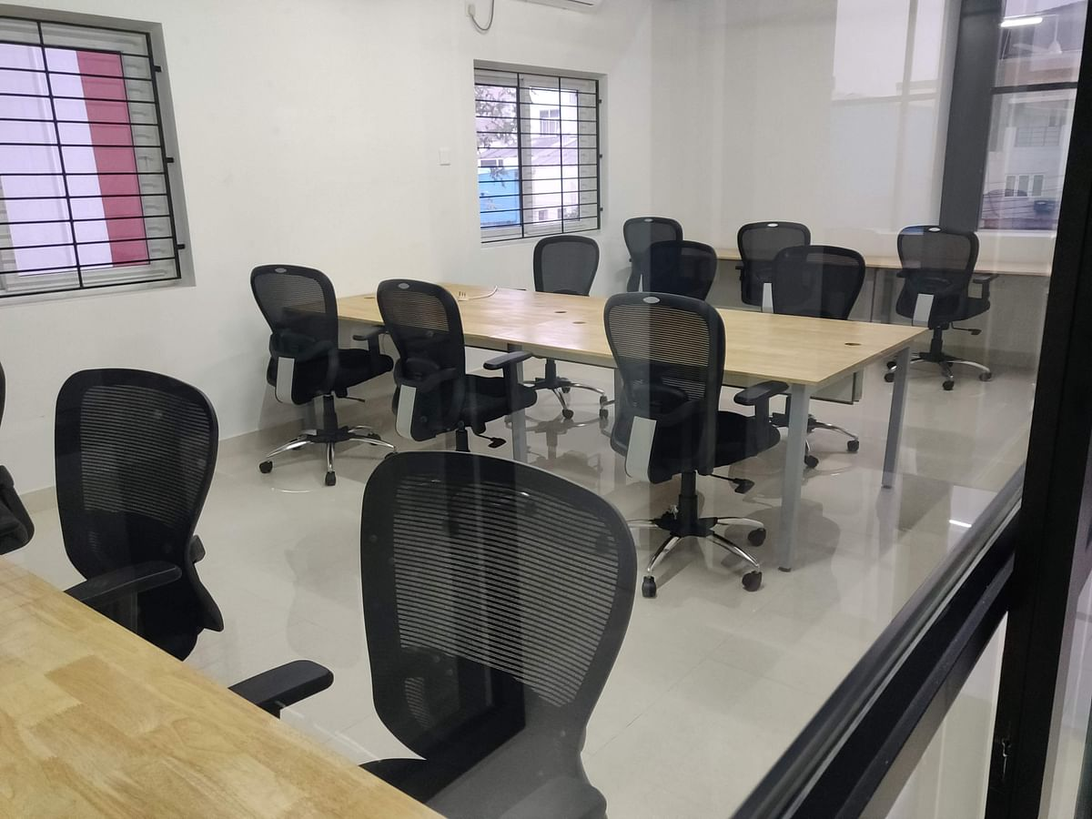 A section of the co-working space at AtWorks.