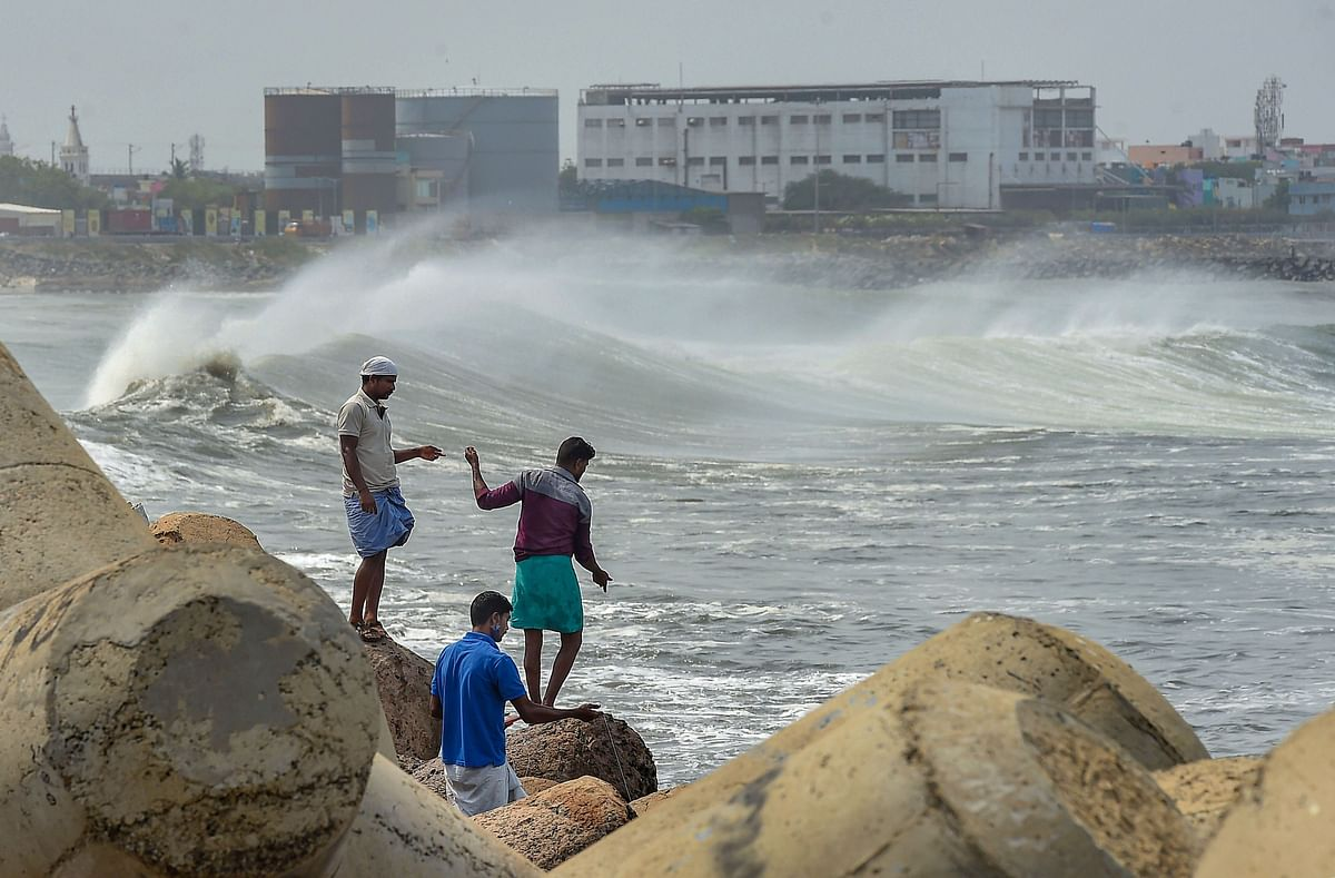 Turbulent waves crash into the coast Kasimedu Fishing Harbour, ahead of landfall by Cyclone Amphan in Chennai, Tuesday.
