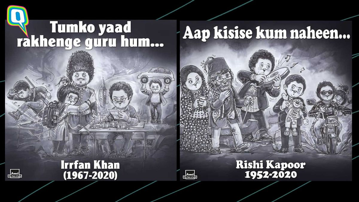 Amul topicals posted a special tribute for Irrfan Khan and Rishi Kapoor