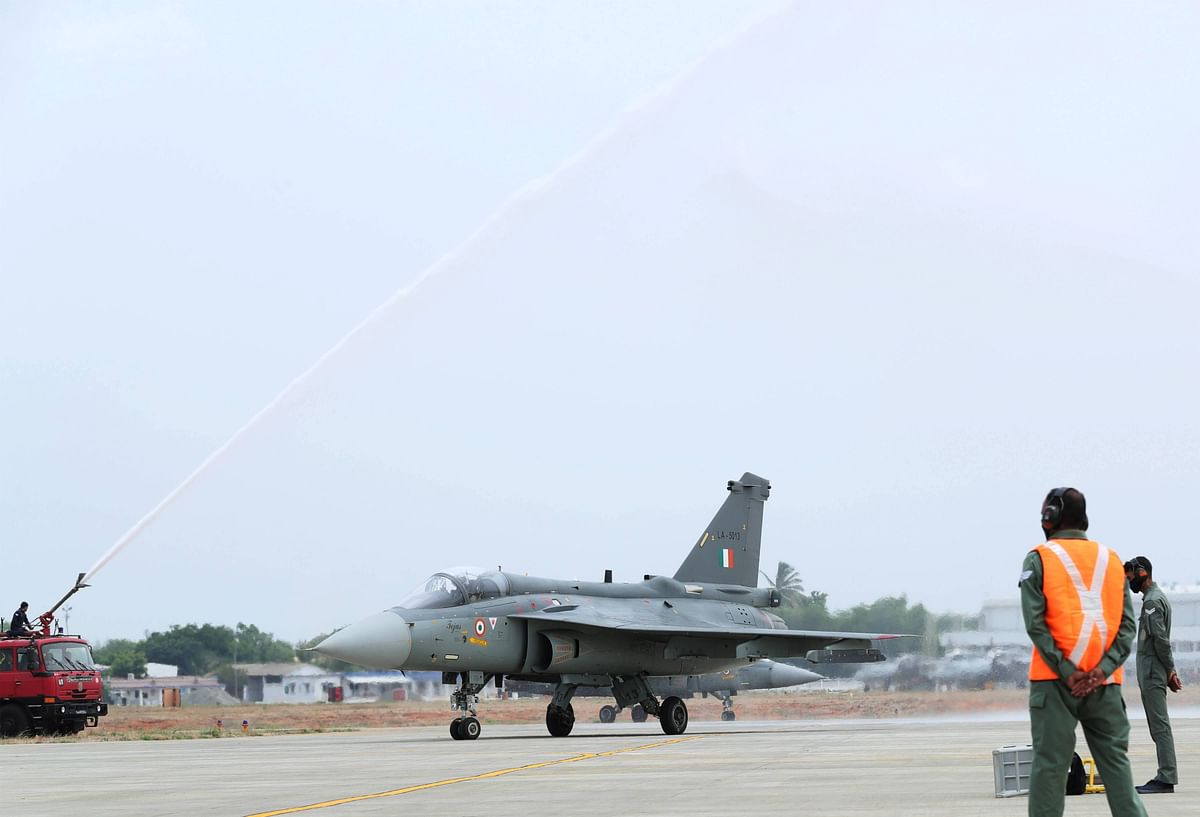 The second squadron of the indigenous Tejas Mk-1 FOC (Final Operations Clearance) fighter aircraft accorded water salute during its induction ceremony on 27 May 2020.