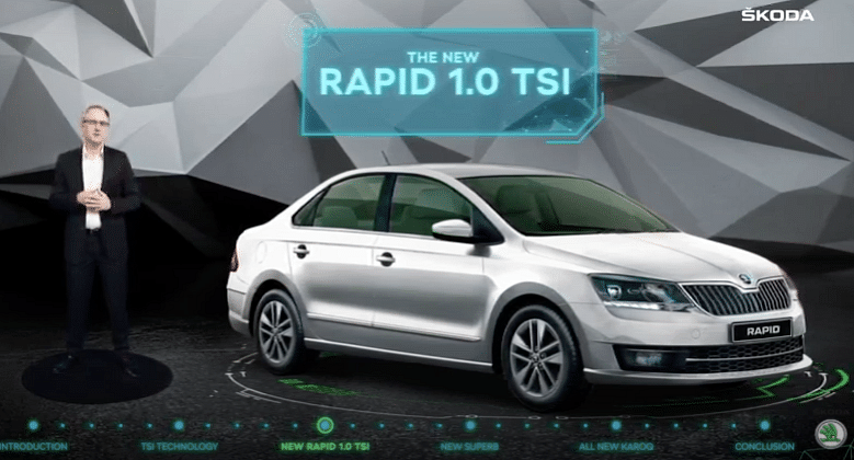 The Skoda Rapid comes with a 1-litre, turbocharged, three-cylinder petrol engine.