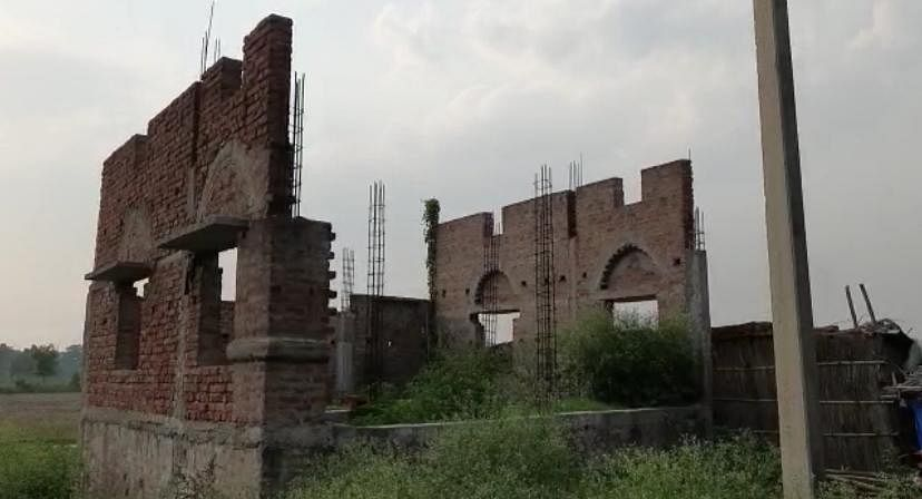 The image of an incomplete mosque whose foundation was laid 1.5 or 2 years back.