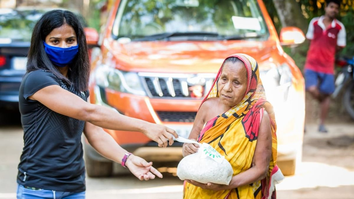 Dutee Chand Hand-Delivers Relief Packages, Including Sanitary Pads
