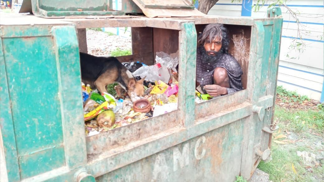 A man in West Bengal's Asansol took shelter in a garbage bin to save himself from cyclone Amphan.