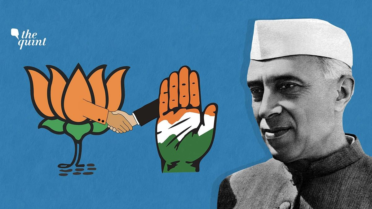 Image of Nehru & BJP & Congress symbols used for representational purposes.