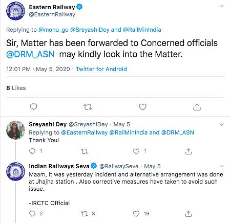 Indian Railways Seva responded that alternative arrangements were made at Jhajha station.
