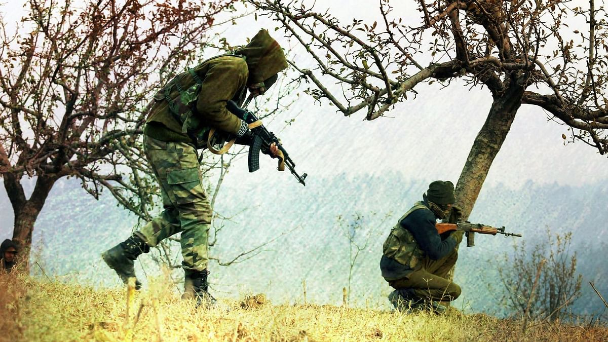 File photo of an encounter between armed forces personnel and terrorists in Kashmir.