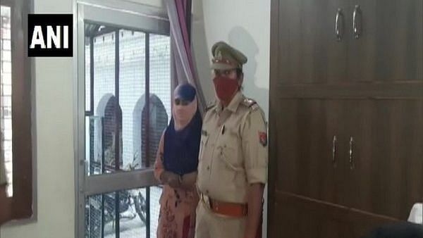 Anamika Shukla with the police.