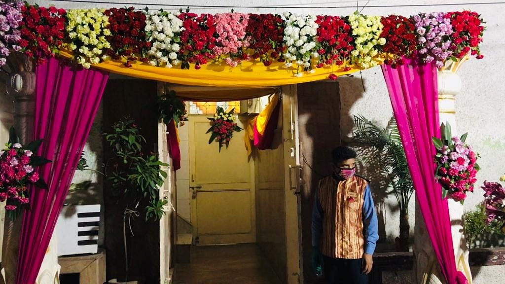 The entry to Ishrat Jahan's home adorned with flowers waiting for the groom to set foot in the building for the nikkah.