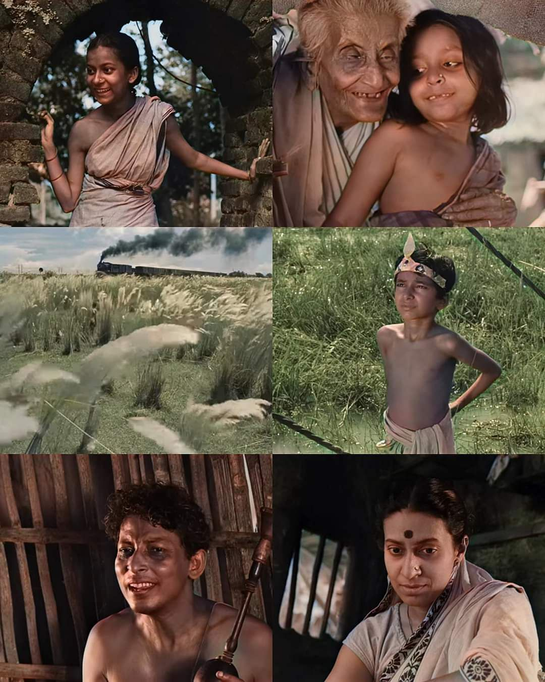 Stills from the colourised <i>Pather Panchali</i>.