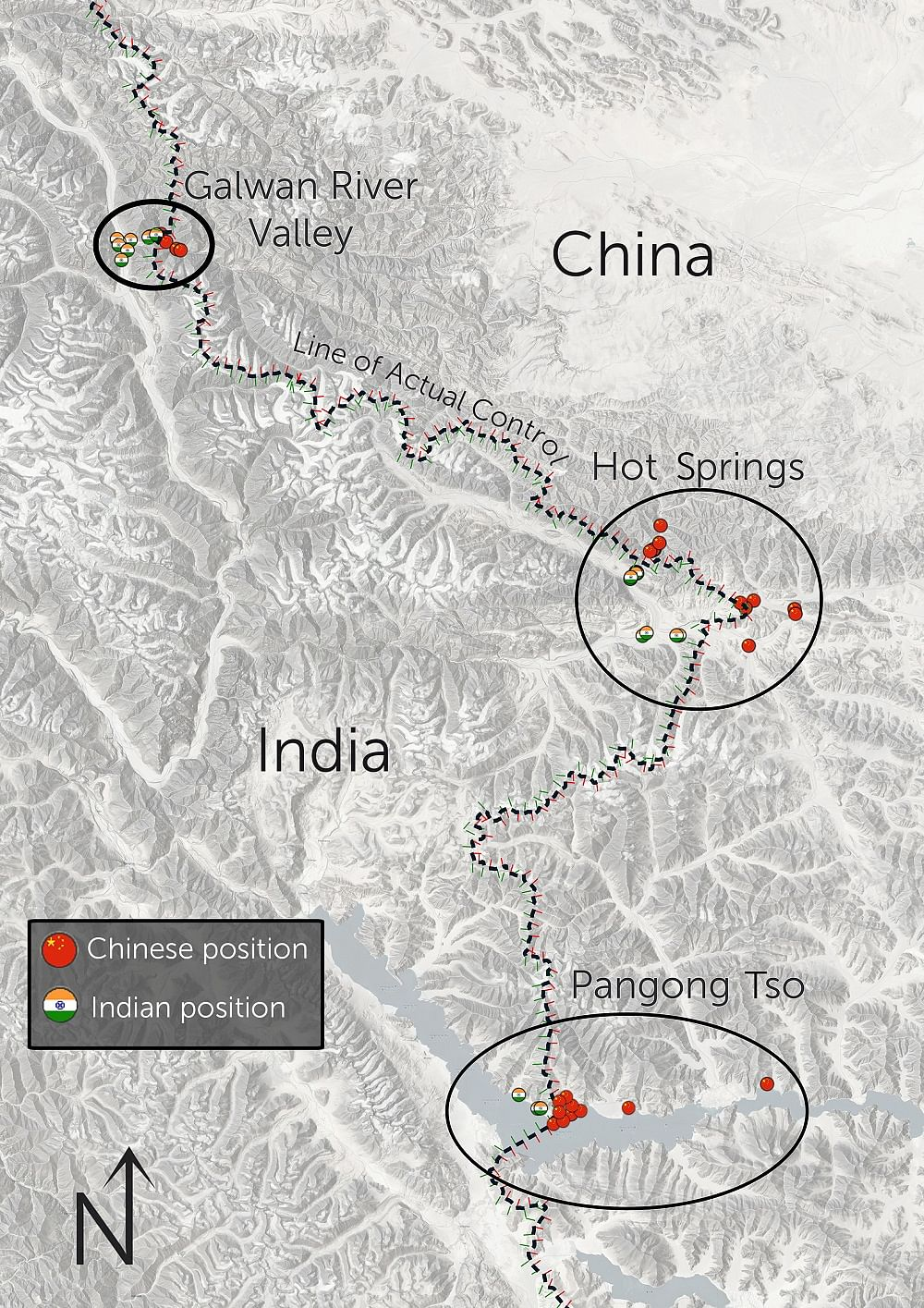 Ladakh sector, showing Line of Actual Control and key areas