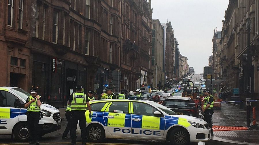 A scene from Glasgow city centre after the incident.