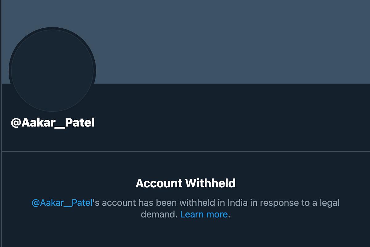 Ex-Amnesty India Head Aakar Patel's Twitter Account 'Withheld'