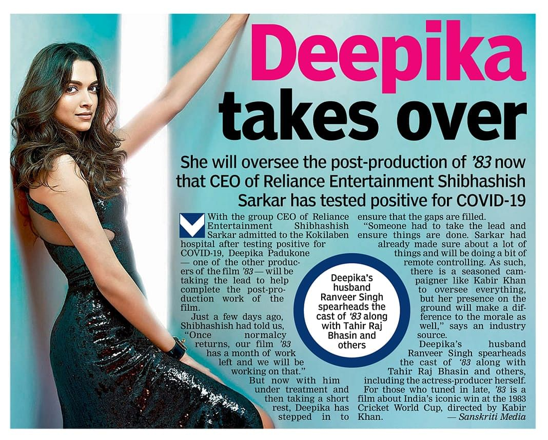 '83' Team Quashes Rumours of Deepika Taking Over Post-Production