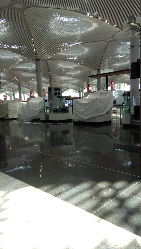Some parts of the airport looked like a ghost town with white coverings.