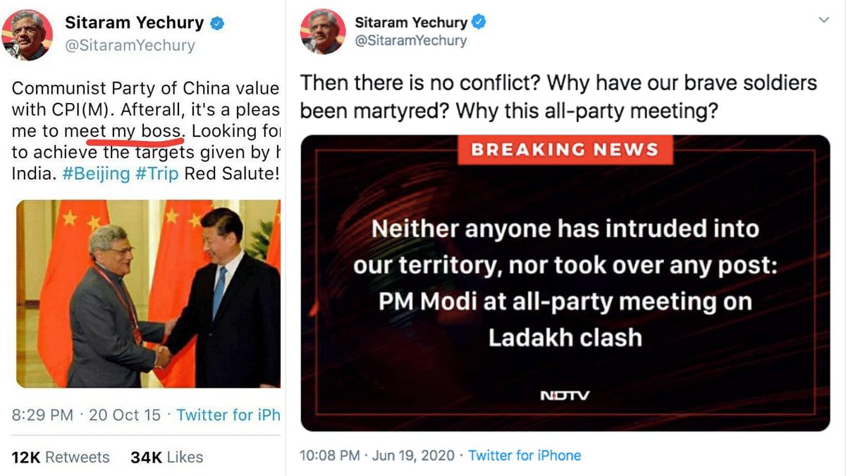 The viral tweet (left), tweet from Yechury's handle (right)