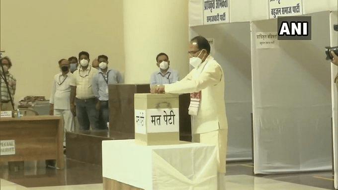 Madhya Pradesh CM Shivraj Singh Chouhan casts his vote for the Rajya Sabha elections.