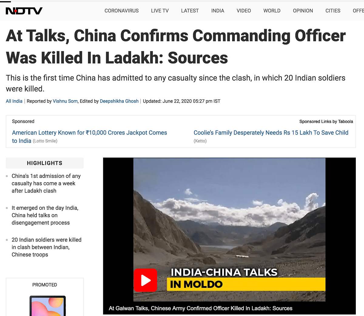 "NDTV had reported about how this was ""the first admission from China of any casualty."""