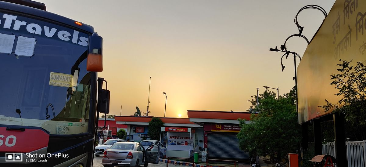 The second night was spent on a petrol pump near the UP-Bihar border.
