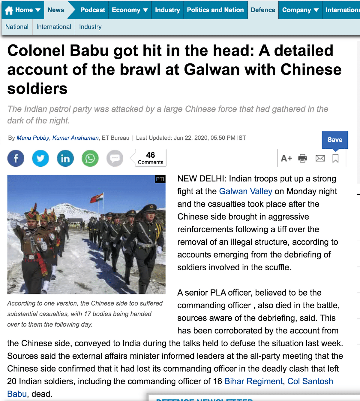 "The article stated how ""a senior PLA officer, believed to the commanding officer"" had also died in the battle."