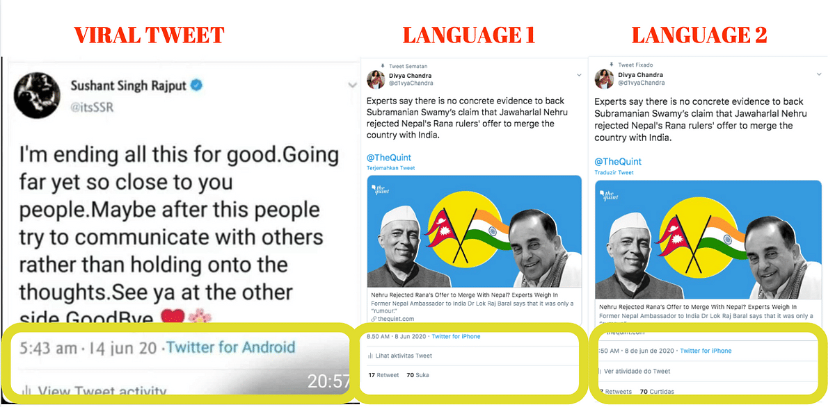 We changed the language on Twitter and found that several Twitter elements read differently.