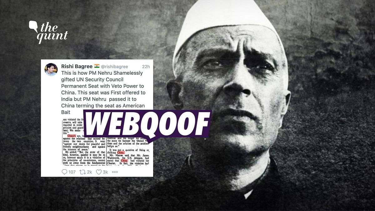 Did Nehru Give India's Permanent Seat At UNSC to China in 1950?