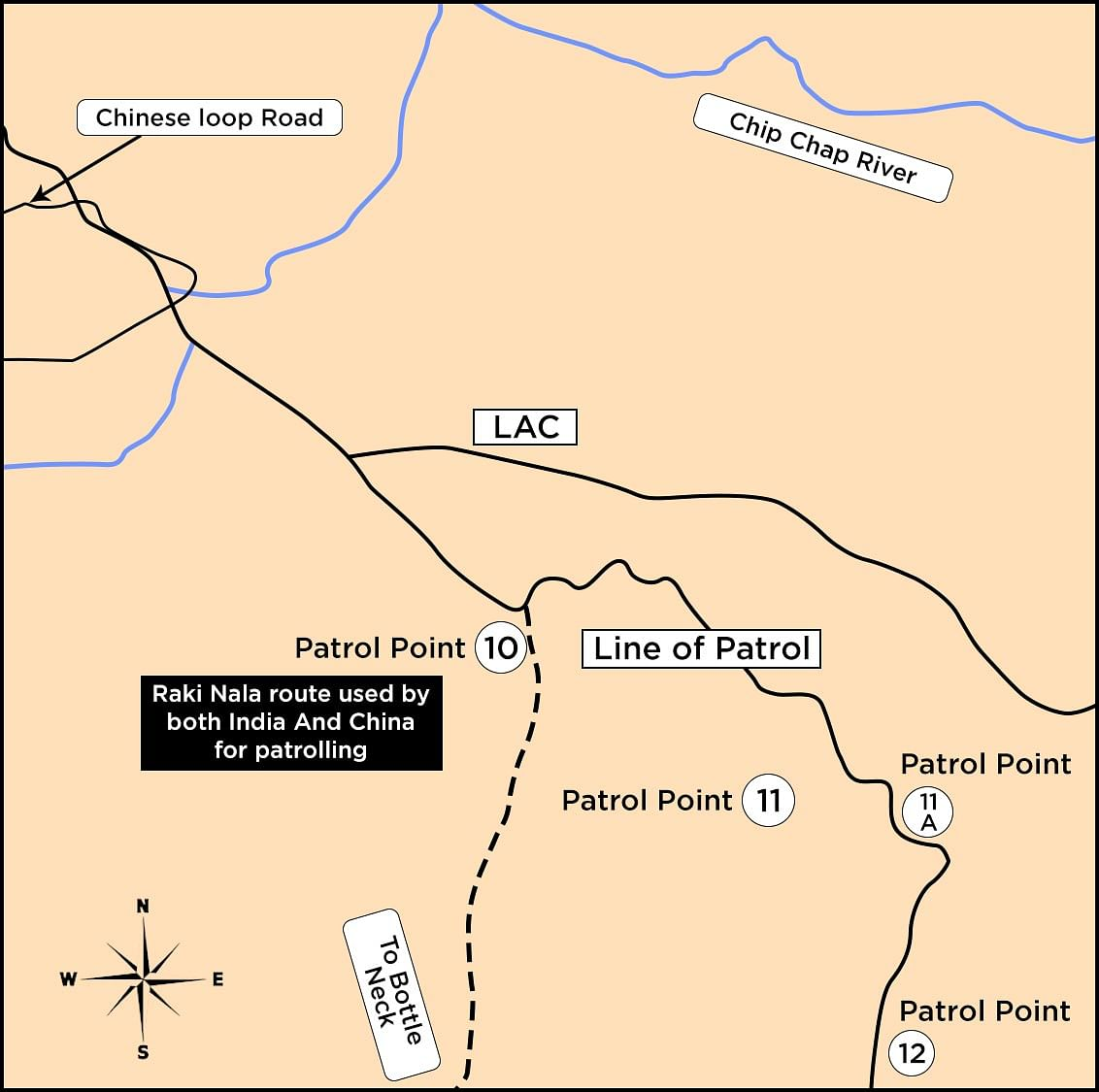 Map indicating the patrolling route along the LAC.