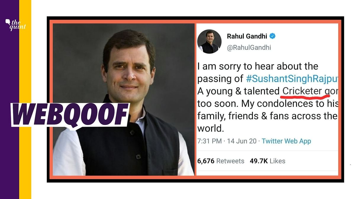 Did Rahul Gandhi Call Sushant Singh a Cricketer? No, Tweet is Fake