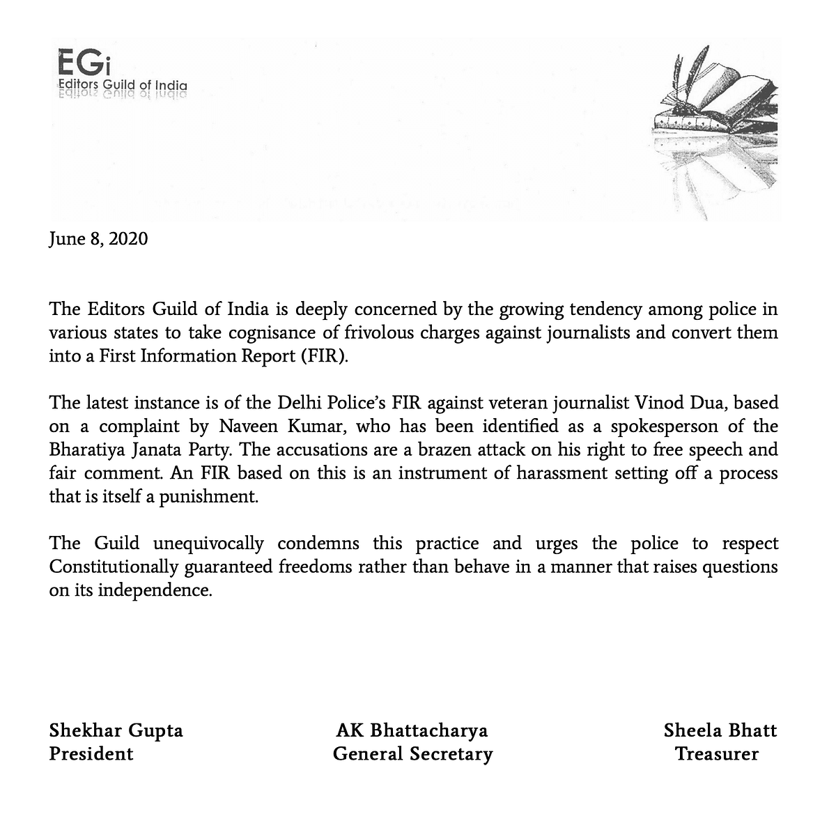 Statement by The Editors Guild of India.