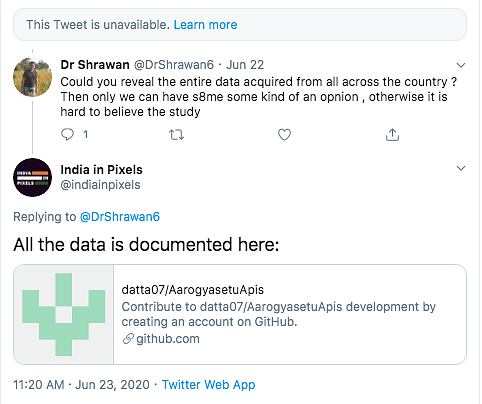 Another reply mentioned a link in which the data set used by the organisation is mentioned.