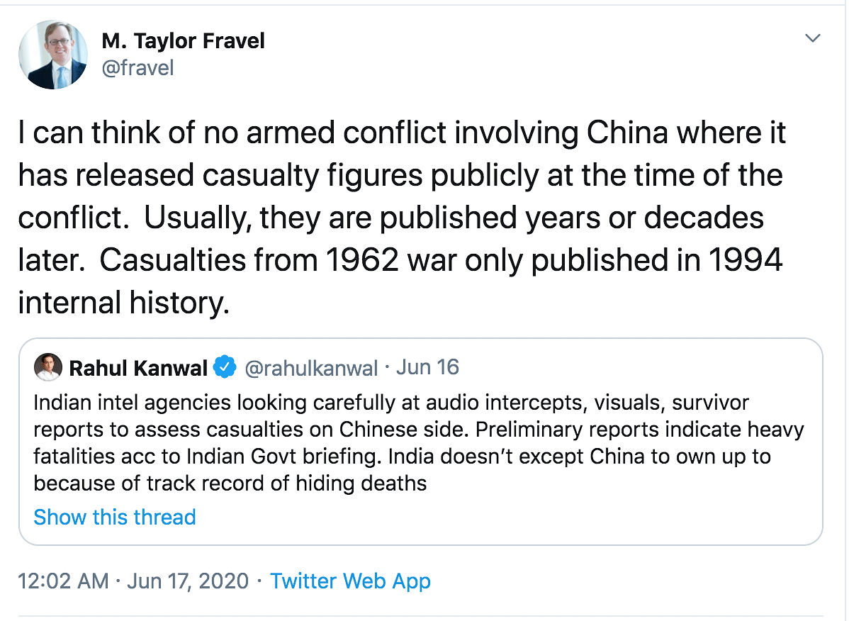 Taylor Fravel highlighted how China doesn't own up and has a track record of hiding deaths.