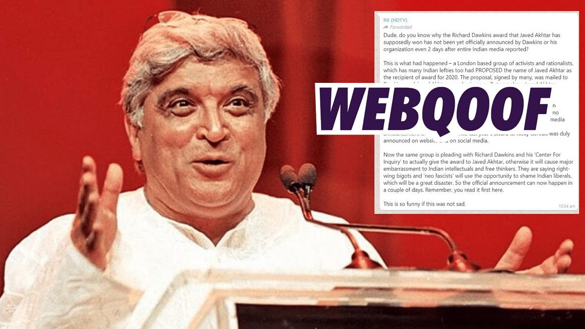 Fake Message Saying Akhtar Didn't Win Dawkins Award Goes Viral